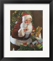 Framed Santa With Teddy Bear