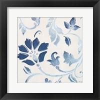 Framed Blue Floral Shimmer I