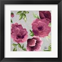 Framed Gray & Plum Florals II