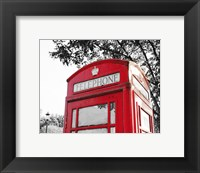 Framed London Phone Booth with Red Pop