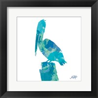 Framed Watercolor Pelican Square I