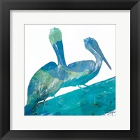 Framed Watercolor Pelican Square II