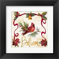 Framed Christmas Poinsettia Ribbon I