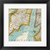 Framed Vintage New York Map IV