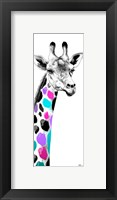 Framed Multicolored Giraffe I