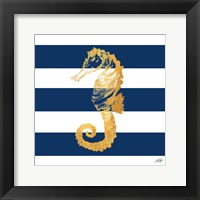 Framed Gold Seahorse on Stripes II