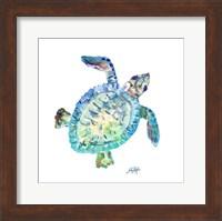 Framed Sea Life In Blues I (turtle)