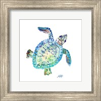 Framed Sea Life In Blues I (turtle)