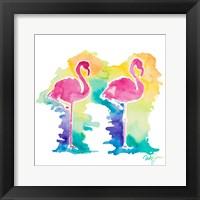 Framed Sunset Flamingo Square I