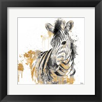 Framed Water Zebra With Gold