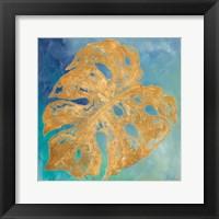 Framed Teal Gold Leaf Palm II