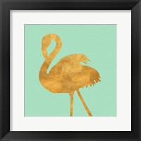 Framed Teal Gold Flamingo