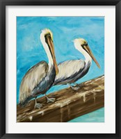 Framed Two Pelicans on Dock Rail