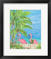 Framed Flamingo Christmas II