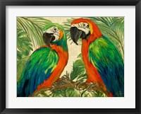 Framed Island Birds on Burlap