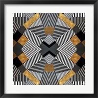 Framed Geo Stripes in Gold & Black I