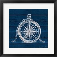 Framed Compass on Blue Wood