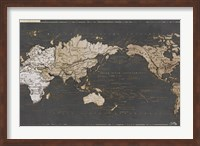 Framed World Map in Gold and Gray