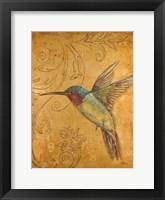 Framed Golden Hummingbird II