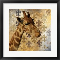 Framed Golden Safari III (Giraffe)