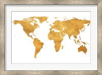 Framed Gold World Map