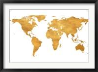 Framed Gold World Map