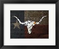 Framed Longhorn Art With Flag