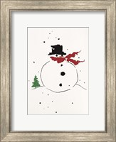 Framed Snowman with Red Scarf