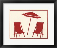 Framed Red Umbrella & Chairs