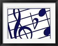 Framed Blue Musical Notes