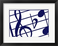 Framed Blue Musical Notes