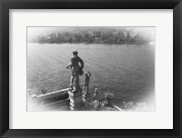 Framed Overlooking Water BW
