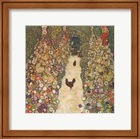 Framed Garden Path with Chickens, 1916