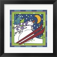 Framed Coalman The Snowman Skiing 1