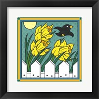 Framed Daffodils 3 With Kernal The Crow