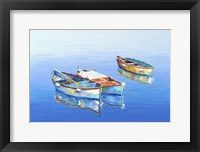 Framed 3 Boats Blue 1