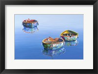 Framed 3 Boats Blue 2