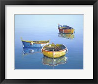 Framed 3 Boats Blue 3