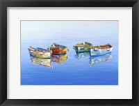 Framed 4 Boats Blue