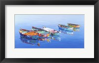 Framed 5 Boats Blue