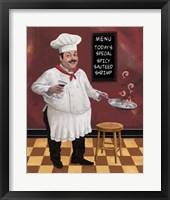 Shrimp Chef Framed Print