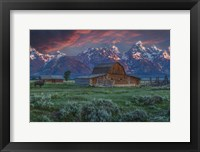 Framed Grand Teton Mormon Barn At Sunrise
