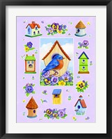 Framed Bluebird And Pansies
