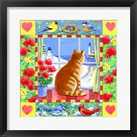 Framed Cat Winter View