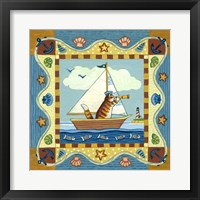 Framed Folk Art Cat Sailing