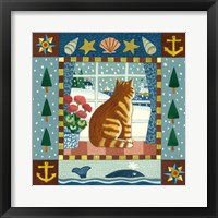 Framed Folk Art Cat Winter