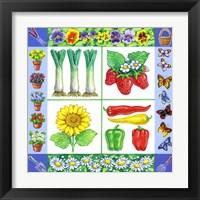 Framed Gardening Veggies + Fruits Square