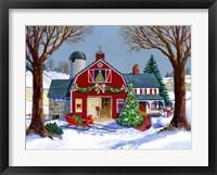 Framed Red Sleigh Barn