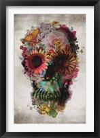 Framed Flower Skull