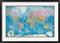 Framed Map of the World with Poles